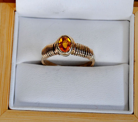 14K Gold Ring with Yellow Sapphire Cabochon - riccoartjewelry.com  - 1