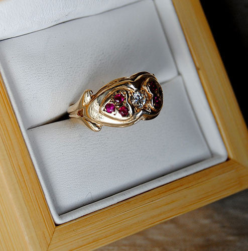 14K Gold Ring Diamond and Rubies Two Hearts - riccoartjewelry.com  - 2