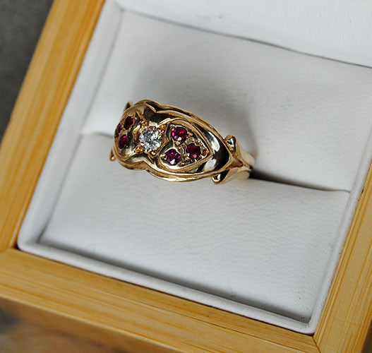 14K Gold Ring Diamond and Rubies Two Hearts - riccoartjewelry.com  - 3