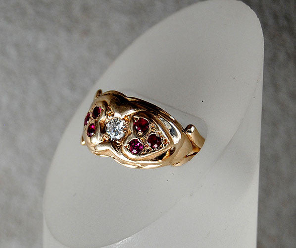 14K Gold Ring Diamond and Rubies Two Hearts - riccoartjewelry.com  - 4