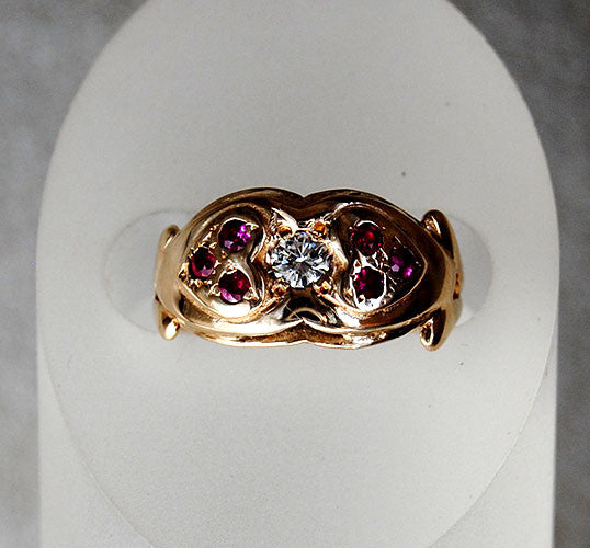 14K Gold Ring Diamond and Rubies Two Hearts - riccoartjewelry.com  - 5
