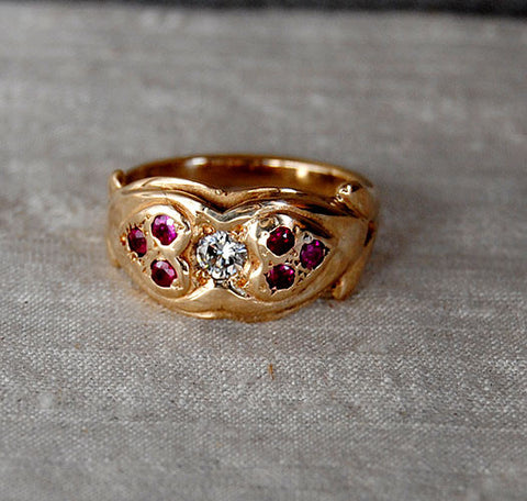 14K Gold Ring Diamond and Rubies Two Hearts - riccoartjewelry.com  - 1