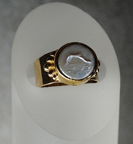 14K and 22K Gold Ring with Pearl - riccoartjewelry.com  - 1