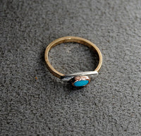 14K Gold Ring with Turquoise and Silver - riccoartjewelry.com