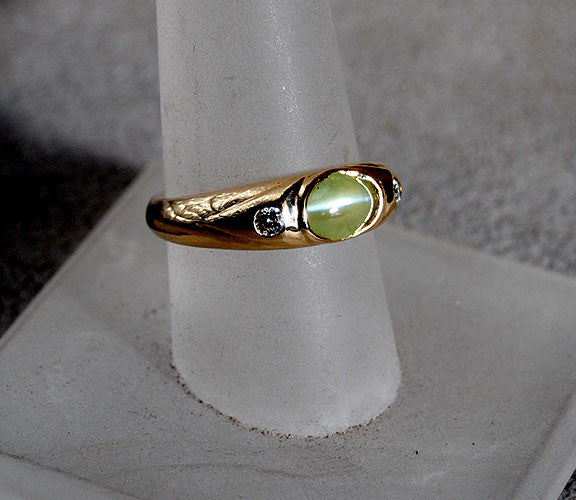 14K Gold Ring with Diamonds and Cat's Eye Chrysoberyl - riccoartjewelry.com  - 1