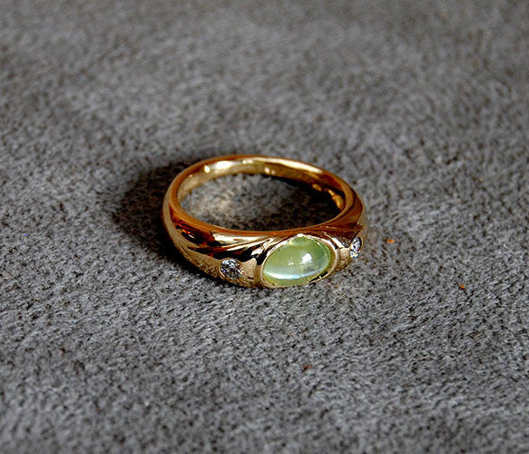 14K Gold Ring with Diamonds and Cat's Eye Chrysoberyl - riccoartjewelry.com  - 3