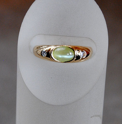 14K Gold Ring with Diamonds and Cat's Eye Chrysoberyl - riccoartjewelry.com  - 2