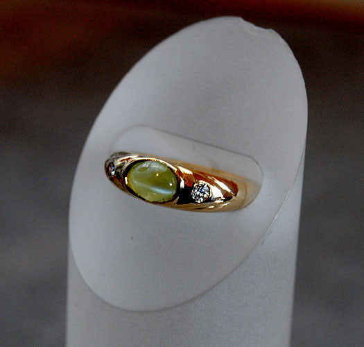 14K Gold Ring with Diamonds and Cat's Eye Chrysoberyl - riccoartjewelry.com  - 4