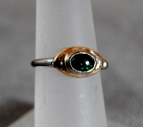 14K Gold Ring with Emerald Cabochon - riccoartjewelry.com  - 1