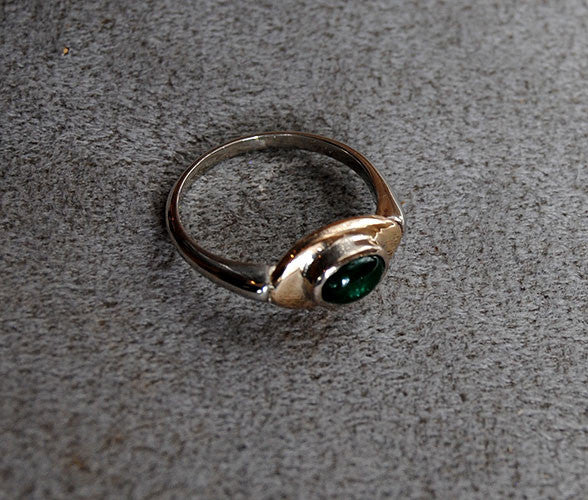 14K Gold Ring with Emerald Cabochon - riccoartjewelry.com  - 4