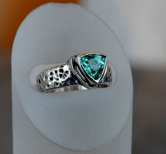 Blue Tourmaline Ring Heavy Textured Wide Band - riccoartjewelry.com  - 1