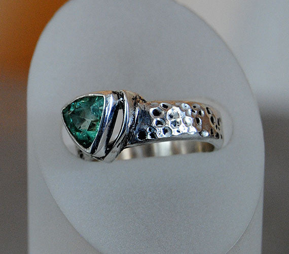 Blue Tourmaline Ring Heavy Textured Wide Band - riccoartjewelry.com  - 2