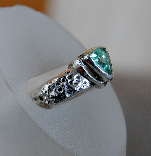 Blue Tourmaline Ring Heavy Textured Wide Band - riccoartjewelry.com  - 3