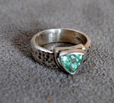 Blue Tourmaline Ring Heavy Textured Wide Band - riccoartjewelry.com  - 4