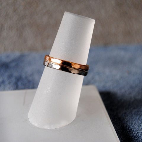 18K Palladium White Gold and 18K Rose Gold Wedding Band - riccoartjewelry.com  - 1