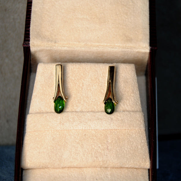 14K Post Earrings with Tsavorite Garnets - riccoartjewelry.com  - 1