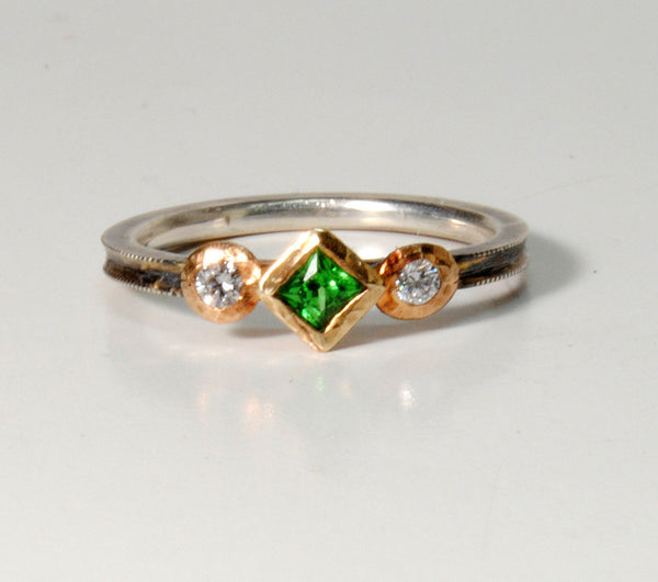 18K Gold on Silver Ring with Tsavorite Garnet and Diamonds - riccoartjewelry.com  - 3