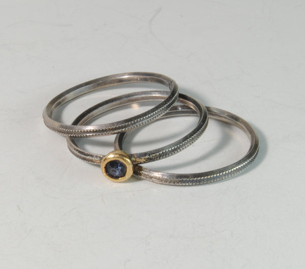 Skinny Stack Set with Sapphire - riccoartjewelry.com  - 7