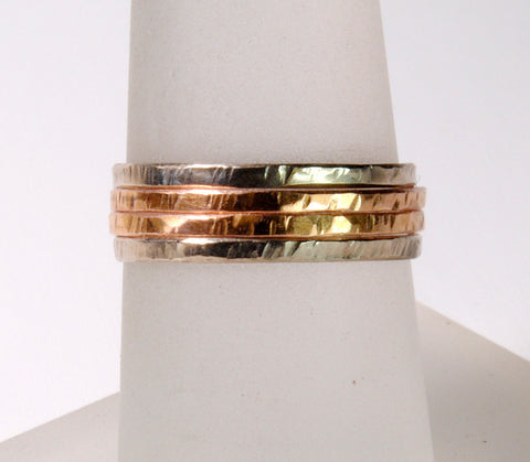 18K Gold Skinny Stack Set White, Yellow and Rose Gold - riccoartjewelry.com  - 1