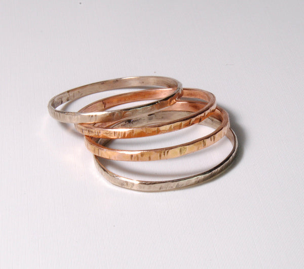 18K Gold Skinny Stack Set White, Yellow and Rose Gold - riccoartjewelry.com  - 3