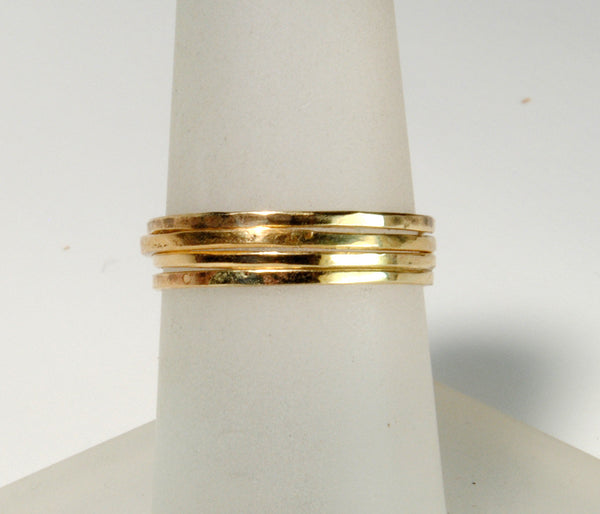 Skinny Stack Set of Four Gold Petite Rings - riccoartjewelry.com  - 1