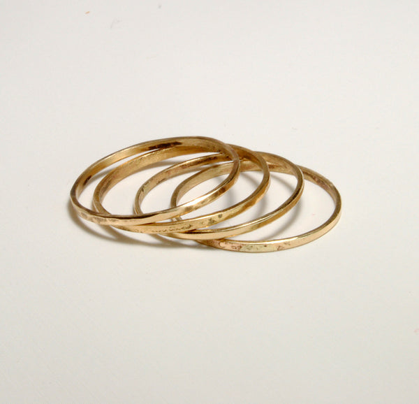 Skinny Stack Set of Four Gold Petite Rings - riccoartjewelry.com  - 3