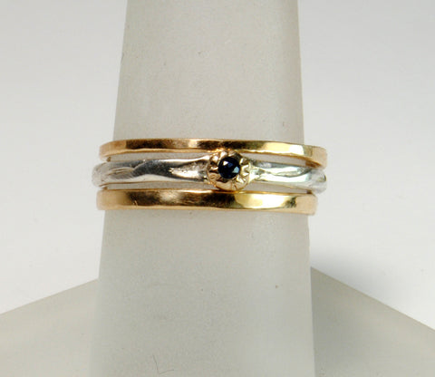 Skinny Stack Set with Sapphire 5 - riccoartjewelry.com  - 1