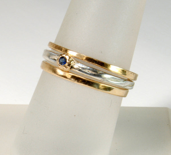 Skinny Stack Set with Sapphire 5 - riccoartjewelry.com  - 3