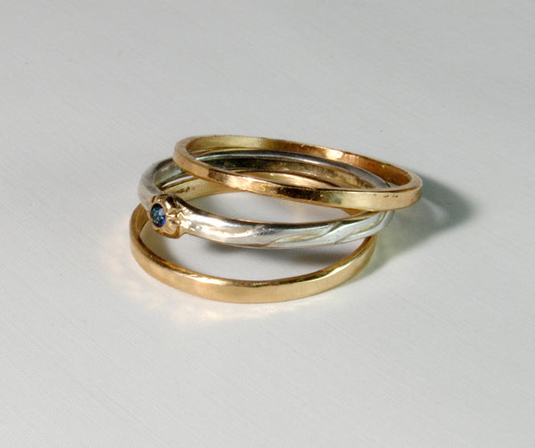 Skinny Stack Set with Sapphire 5 - riccoartjewelry.com  - 4