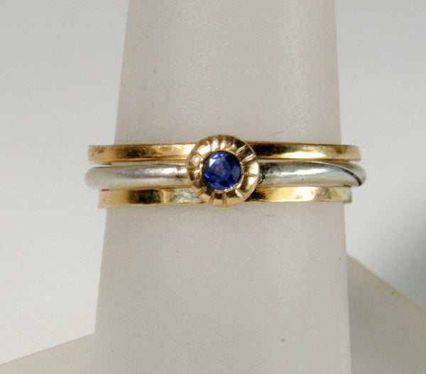 Skinny Stack Set with Sapphire 4 - riccoartjewelry.com  - 5