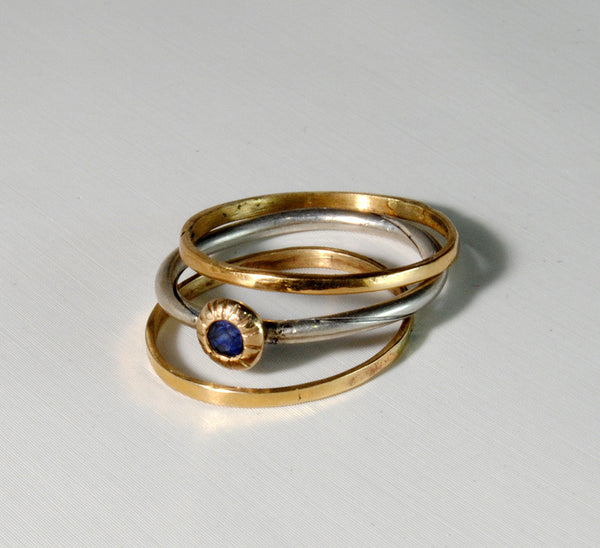 Skinny Stack Set with Sapphire 4 - riccoartjewelry.com  - 7