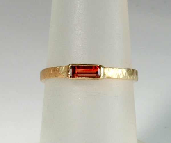 14K Gold Skinny Stack Ring with Garnet Baguette - riccoartjewelry.com  - 1