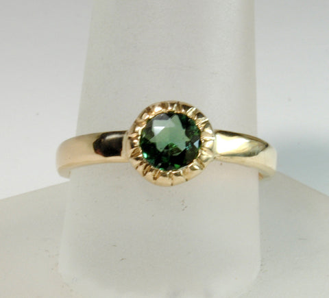 14K Gold Ring with Green Tourmaline - riccoartjewelry.com  - 1