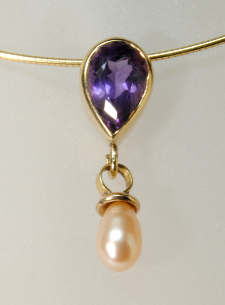 14K Gold Pendant with Amethyst and Pearl - riccoartjewelry.com  - 1
