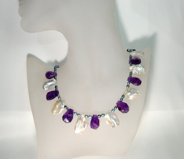 Amethyst and Keshi Pearl Necklace - riccoartjewelry.com  - 2