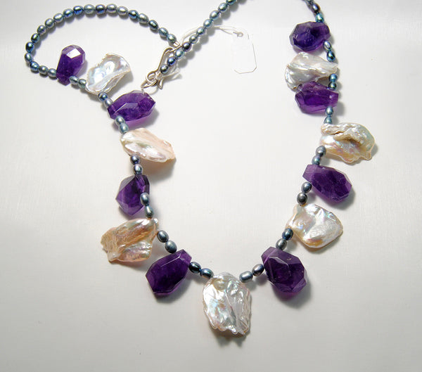 Amethyst and Keshi Pearl Necklace - riccoartjewelry.com  - 1