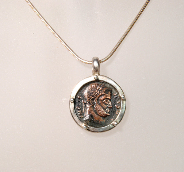 Ancient Coin  Constantine in Silver - riccoartjewelry.com  - 2
