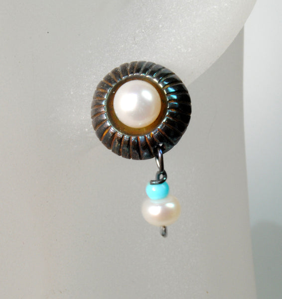 Sterling Post Earrings with Turquoise and Pearl Drops - riccoartjewelry.com  - 1