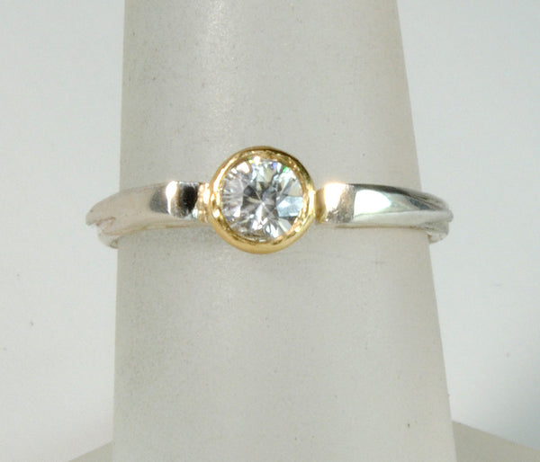 Stack  Ring Solitaire Gold Bezel - riccoartjewelry.com  - 1