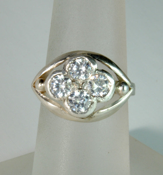 18K Gold Ring with One Carat Diamond Cluster Custom Order - riccoartjewelry.com  - 1