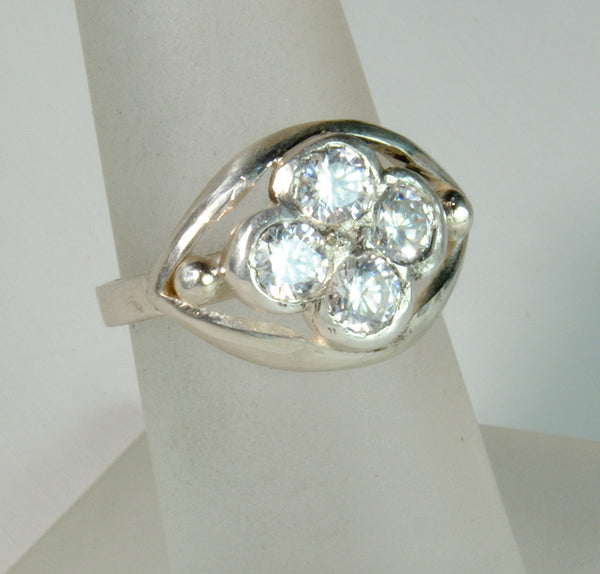 18K Gold Ring with One Carat Diamond Cluster Custom Order - riccoartjewelry.com  - 2