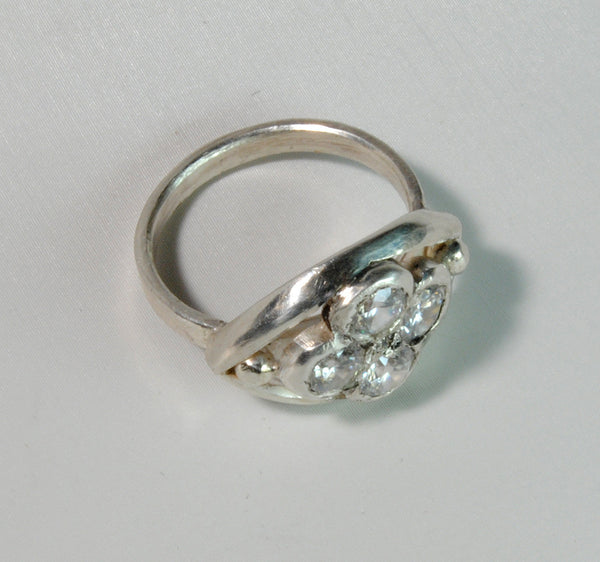 18K Gold Ring with One Carat Diamond Cluster Custom Order - riccoartjewelry.com  - 6