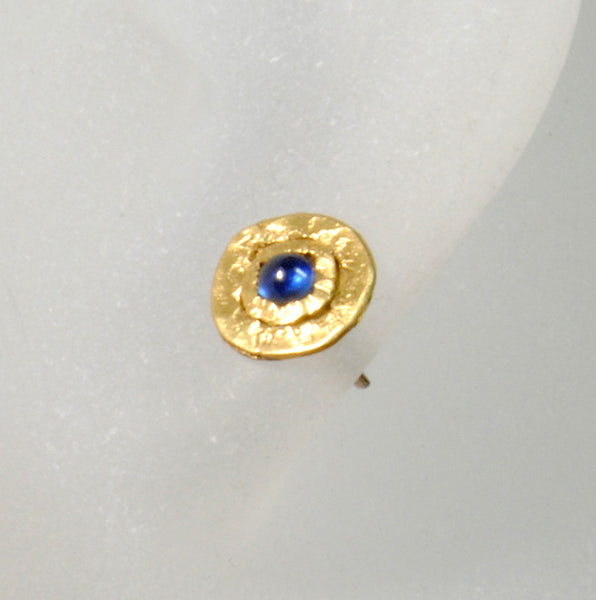 22K Gold Stud Earrings with 3 mm Sapphire Cabochons - riccoartjewelry.com  - 3