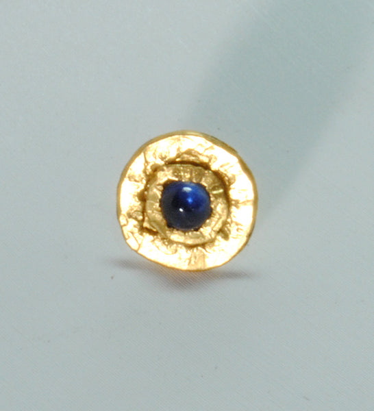 22K Gold Stud Earrings with 3 mm Sapphire Cabochons - riccoartjewelry.com  - 4