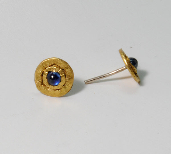 22K Gold Stud Earrings with 3 mm Sapphire Cabochons - riccoartjewelry.com  - 5