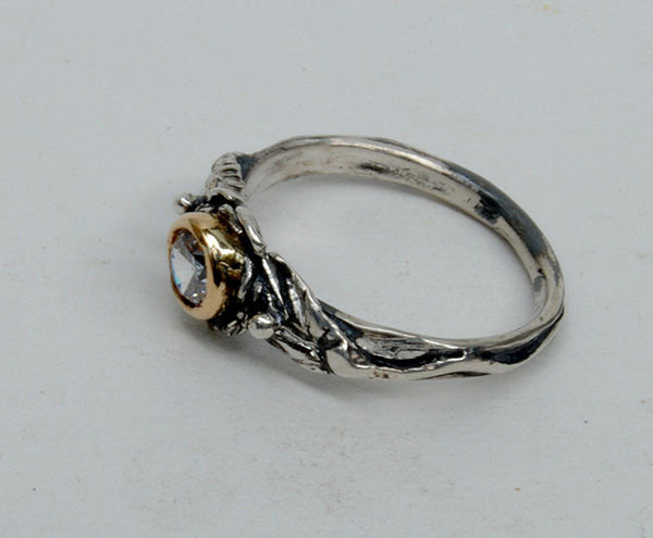 Gold and Silver Engagement Ring with Zircon - riccoartjewelry.com  - 3