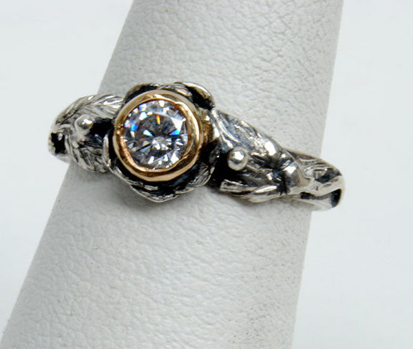 Gold and Silver Engagement Ring with Zircon - riccoartjewelry.com  - 1