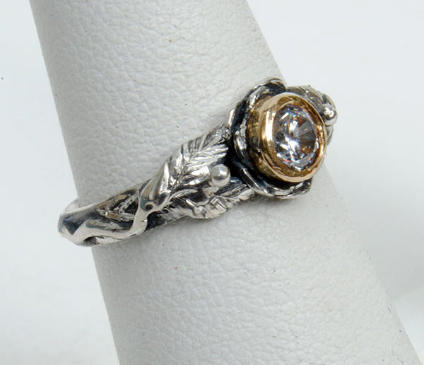 Gold and Silver Engagement Ring with Zircon - riccoartjewelry.com  - 2