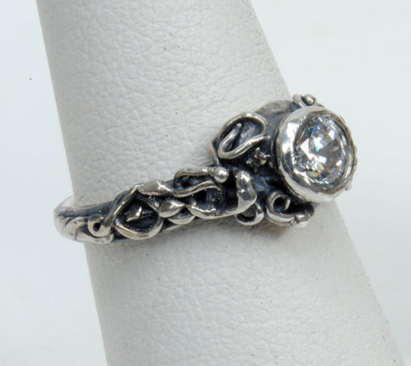 Silver Engagement Ring with Zircon - riccoartjewelry.com  - 1