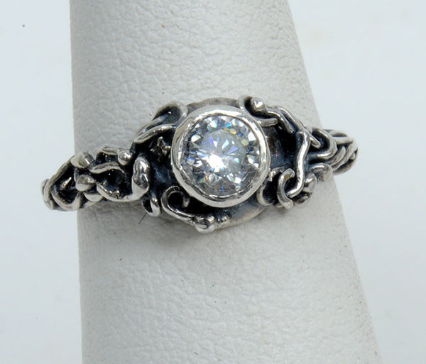 Silver Engagement Ring with Zircon - riccoartjewelry.com  - 2